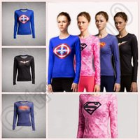 activewear t shirts - Women s superman Sports Fitness Tops Yoga Stretch Running Activewear Tights T shirts long sleeve clothes tees tops LJJO82