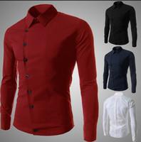Wholesale fashion casual men s shirts long sleeved shirts men men s shirt Slim Sexy color size M XL