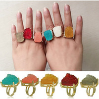 Wholesale GP Raw Quartz Crystal Finger Ring Kendra Scott Ring for Women Men Jewelry in Bulk Christmas Gift