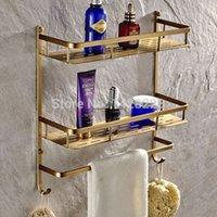 antique corner shelves - Antique Brass Double Tier Bathroom Shelves Wall Mounted Bath Storage Rack with Towel Bar