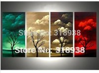 abstract art paintings images - Hand painted Abstract seasons tree panels Group Oil Painting on Canvas Art home images decorative