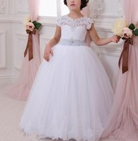Wholesale Latest Long Ball Gown Flower Girl Dresses With Bow Party Prom Pageant Communion Dress Little Girls for WeddingLatest Long Ball Gown Flower G