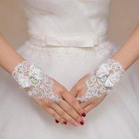 Wholesale Cheap Short Bridal Gloves Lace Bow Wedding Gloves Fingerless Beaded Lace Wedding Gloves lace wedding gloves
