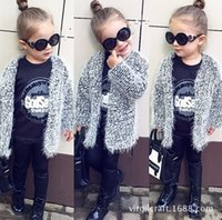 Wholesale 2016 New INS Autumn Girls Sweaters Children Mohair Thicken Cardigan Kids Baby Warm Sweaters Coats Infants Toddlers Gray Cardigan Clothing
