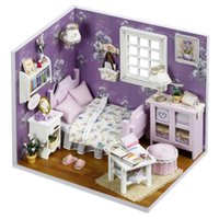bedroom furnitures - Sweet Sunshine Bedroom Scene Small DIY Wood Doll house D Miniature Dust cover Lights Furnitures Home amp Store decoration Adult