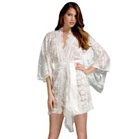 Wholesale Sexy Lingeries Lace Satin Robe Plus Size XL Lingerie Womens Night Dresses Kimono Nightwear Bustier Sexy Elegant Lingerie Sleepwear Clothing