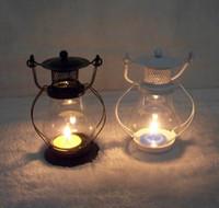 Wholesale European Garden Glass Iron Lantern Candle Lantern kerosene lamp Home Furnishing decoration creative Candle Holders Candlestick
