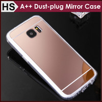 best iphone bumper - BEST Quality For Samsung S7 Edge Mirror Acrylic TPU Case Dustproof Plug Dust plug Soft Clear Bumper Mix Models Protective Phone Cover DHL