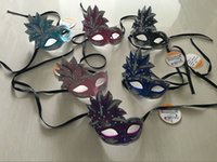 Wholesale BEAUTIFUL MASK WITH LEAVES DECORATION ON TOP LUXURY PARTY MASK AND EYE MASK COLORS ASST