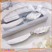 Wholesale Wedding Favors And Gifts Metal Bread Cake Butter Knife Fork Chrome Leaf Spreader Valentine s Day gift
