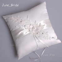 appliqued pillow - Elegant Ivory Satin Ring Pillow High Quality Lace Appliqued Beaded Handmade Flower Bridal Wedding Pillows Wedding Dectoration Accessories