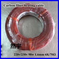 Al por mayor-Nueva infrarrojos teflón Suelo radiante Sistema de cable de 1,6 mm 6K / 70Ohm PTFE / silicona fibra de carbono Suelo Techo eléctrico Línea Wire