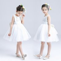 balls imports - 2016 brand flower girls dresses for wedding Tulle pageant imported satin dresses layers Elegant girl sleeveless big Bow white party dresses