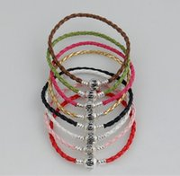 Wholesale good quality leather bracelet snake chain fit beads mixed colors cm cm