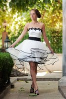 Wholesale High Low Short Wedding Dresses Strapless Lace Off The Shoulder Organza Black And White Simple Bridal Gowns