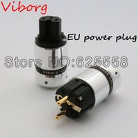 Wholesale One pair New Viborg High End Gold Plated EUR Schuko Power Plug IEC Connector plug for Hifi Electrical Plug DIY Cable