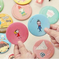 Wholesale Lovely cartoon cosmetic mini mirrors gifts makeup mirror collapsible different colors different pattern portable travel bag mini mirror