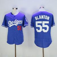 baseball uniform numbers - Dodgers Joe Blanton Blue Baseball Jersey Cheap Mens Jerseys Top Quality Baseball Uniforms Playoffs Baseball Shirts Stitched Name Number