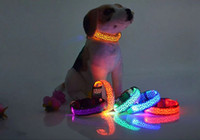 basic decor - LED Dog Collar Safety Leopard Design Nylon Night Light Necklace For Dog Cat Glowing in the dark Flashing Pet Decor