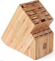 Wholesale Bamboo Knife Storage Block Organizer Wooden Wood Cleaver Kitchen Rack Holder