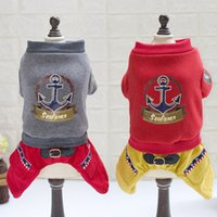 Wholesale New Small Dog Red Grey Nautical Clothes Pets Chihuahua Animal Cotton Jumpsuits Outwear Puppy Cats Letters Costume