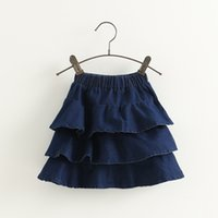 Wholesale Cute Kids Girls Ruffles Denim Skirts Fall Winter Sweet Kid Girl Part Skirts Holiday Christmas Fashion Clothing