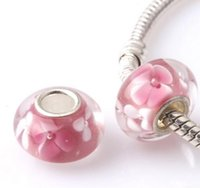 Wholesale 50PCS silver DIY thread Murano Glass Beads Charms fit Europe pandora Bracelets necklaces