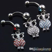 Wholesale Owl Belly Navel Ring Body Jewelry Piercing Red Blue White O91
