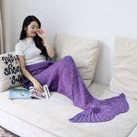 Wholesale Yarn Knitted Mermaid Tail Blanket Handmade Crochet Mermaid Tail Blanket Adult Little Mermaid Blanket Knit x180cm x70inches