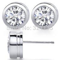 bezel diamond earrings - Round Bezel Set Test Positive Diamond Stud Earrings K Gold Total Carat Studs Lab Grown Moissanites Brand Stud Earrings