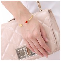 Wholesale Factory high quality gold plated red stone charming lady bangle sets jewelry accessory
