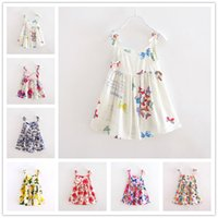 Wholesale Girls Summer Dresses Designs suspender dress Lemon print dress butterfly print Floral Beach dress LA282