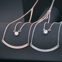 bar diamond necklace - China factory Promotion New design sterling silver Ladies necklace double layers chains necklace with bar and cz diamond pendant