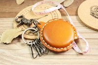 antique tape measure - Hot Sale New Special Vintage retro handmade genuine cowhide leather keyring holder Creative retractable measuring tape