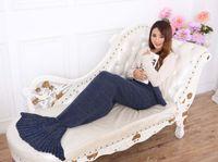 Wholesale Super Soft Hand Crocheted cartoon Mermaid Tail Blanket Sofa Blanket air condition blanket siesta blanket X90cm ZD105B