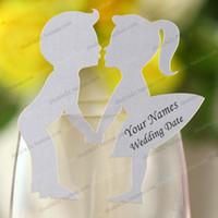 al por mayor invitaciones de cristal-Tarjetas del lugar de la boda para el vidrio de vino, tarjetas de la invitación imprimibles, tarjeta conocida del lugar 50pcs, novia y novio encantadores 50pcs, invitaciones imprimibles
