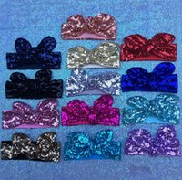 Wholesale Girl Glitter Sequins headband mermaid Bow headbands sequins bowknot headband Headwrap baby Knot Hair Headwear KKA905