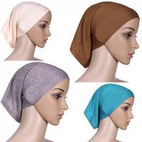 tubo hijab islámico árabe-musulmán bajo al por mayor de la bufanda del velo casquillos internos sombreros estiramiento elástico ajustable # L10535