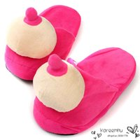 adhesive pad printing - Women Men Funny Home Slippers Autumn Winter Warm Foot Woman Man Lovers Slipper Shoe Cotton padded Breasts Mimi Indoor Soft Shoes