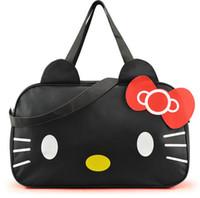 Wholesale Women Travel Bag New Style Canvas Fabric Sport Bag Luggage Bags Hello Kitty Cartoon Bolsa Feminina School Girls Duffel Bag Brand