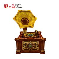 Wholesale CubicFun D Puzzle Toys Retro Gramophone P665H being a puzzles or a ornament for kids and adult as a gift
