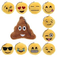 antique stuffed toys - New KeyChains cm Emoji Smiley Small pendant Emotion Yellow QQ Expression Stuffed Plush doll toy bag pendant for Christmas gift