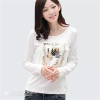 Wholesale Womens T Shirts Spring Base Shirt Carton Comfortable Applique Cartoon Print Womens T Shirts Long Sleeves