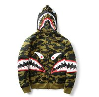 active snow - Bapes SHARK SNOW BOARD Men Women Camouflage Hoodie official Autumn Winter Zipper Windproof Hip Hop Coat Aape Shark Hoodies