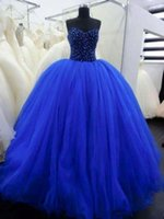 Wholesale Beautiful Royal Blue Ball Gown Quinceanera Dresses With Beaded Sequin Sweetheart Off Shoulder Lace Up Floor Length Tulle Prom Party Dresses
