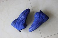 Wholesale New arrival Retro basketball shoes Premium Deep Royal Blue Suede Basketball Shoes Wool Black Nylon XII Sports shoes With Box Size