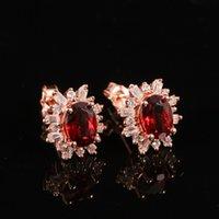 Wholesale iVeeka Jewelry Natural Gemstone Red Garnet Studs Earrings Sterling Silver