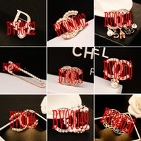 asian winter fashion - women brand brooch fashion letter imitation diamond brooches with k gold plated high quality camellia jewelry winter style