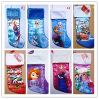 Wholesale Fashion Christmas Tree party Decoration D Cartoon Frozen Princess Elsa Anna Family Xmas Socks Children s Kids Christmas Pockets Candy Bags