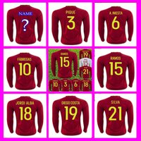 Wholesale Long sleeve Spain Socce Jersey MORATA Silva Ramos Diego Costa Mata White Fabregas European Cup Wholesalers Jerseys